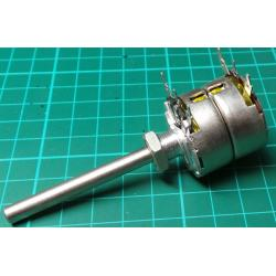 Potentiometer, 2 x 10K, Log, THT, 6x50mm Shaft