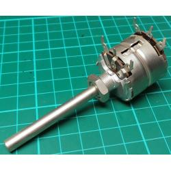 Potentiometer, 2 x 5K, Log, THT, 6x50mm Shaft