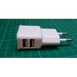 USED Phone Charger, USB, 2.4A + 1.2A, 2 Outputs, White