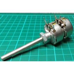 Potentiometer, 2 x 500K, Log, THT, 6x50mm Shaft