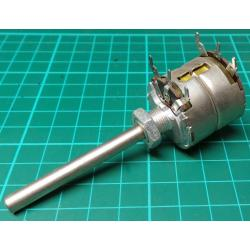 Potentiometer, 2 x 2M5, Lin, THT, 6x50mm Shaft