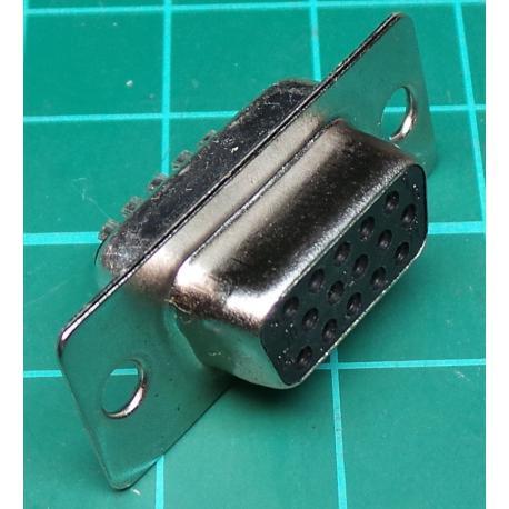 D Type, Socket, 15 Pin HD, Solder Bucket