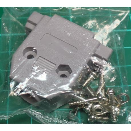 D Type, Backshell / Hood, 9 Pin D or 15 Pin HD, Plastic, with Screwlocks