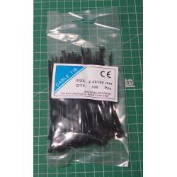 Stahovací páska 2,5x100mm černá, balení 100ks