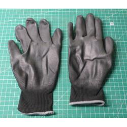 Seamless work gloves with PU palm - size 10, black