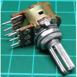 Potentiometer, 2 x 50K, Lin, THT, 6x13.5mm Knurled Shaft, PCB Pins