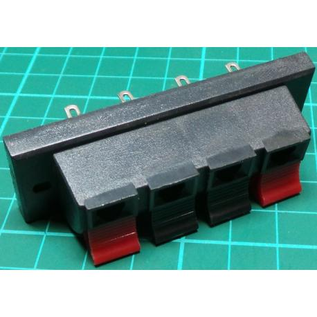Speaker Clip Connectors, Panel Mount, Red/Black (2 Channels)