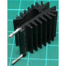 Heatsink, Black, TO220, Solderable - USED Goods