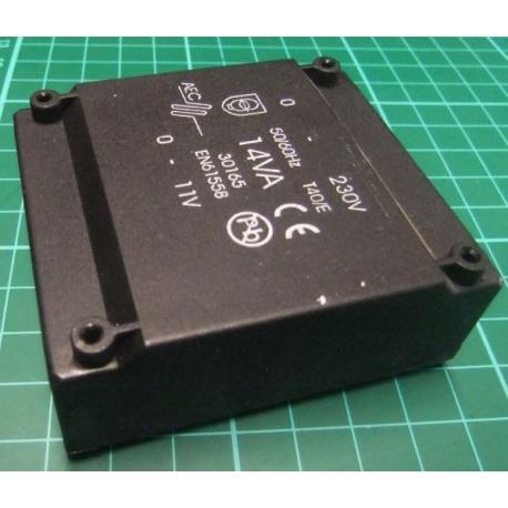 Transformer, 230V - 11V, 14VA, PCB Mount