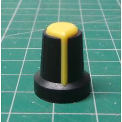 Instrument knob 15x17mm, shaft 6mm black-yellow