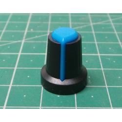 Přístrojový knoflík 15x17mm, hřídel 6mm černo-modrý