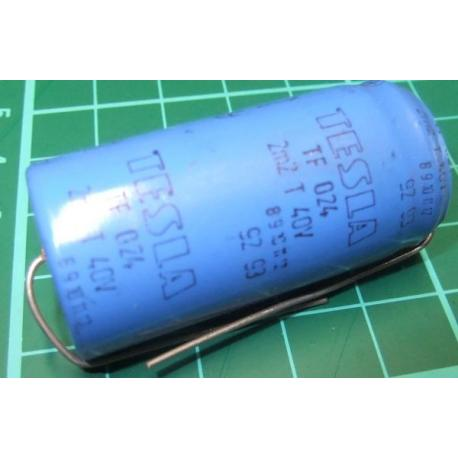 Capacitor, 2200uF, 40V, Axial, Electrolitic, Old Stock