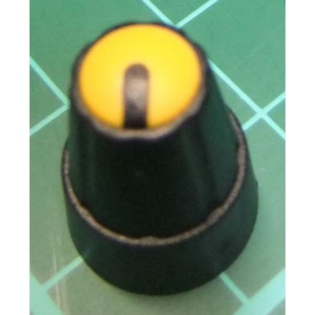 Knob, for 6mm knurled shaft, Yellow, Style 1