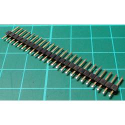 HDR 24 Pin SIL Header, Male, 2.54mm Pitch