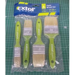 Flat brushes, set of 4, (25-38-50-63mm), EXTOL CRAFT, 91510