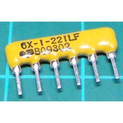 220R Resistor Array, 6 Pins, Resistors Bussed