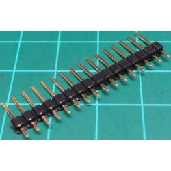 HDR 16 Pin SIL Header, Male, 2.54mm Pitch