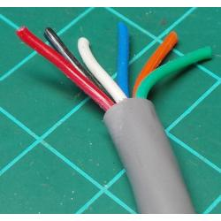 6 Core, Unscreened, 22AWG, 0.34mm2, Stranded, PVC, 75deg, Grey