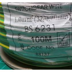 18AWG, 1mm2, Stranded, PVC, 105deg, Green/Yellow