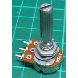 Potentiometer, 100K, Log, THT, 6x20mm Shaft