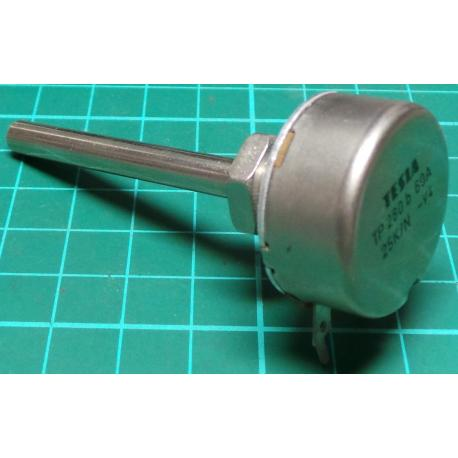 Potentiometer, 25K, Lin, THT, 6x50mm Shaft