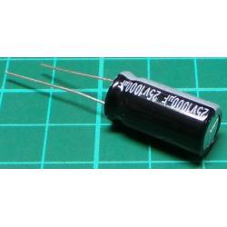 Capacitor, 1000uF, 25V, 105deg, Radial, Electrolytic