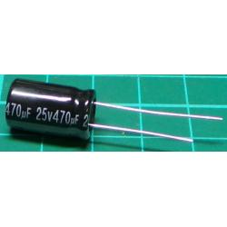 Capacitor, 470uF, 25V, 105deg, Radial, Electrolytic