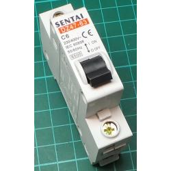 DIN MCB, 6A, Type C, 230V, Single Phase