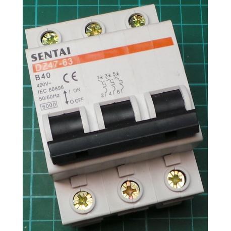 DIN MCB, 40A, Type B, 230V, 3 Phase - DSMCZ