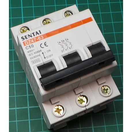 DIN MCB, 20A, Type B, 230V, 3 Phase