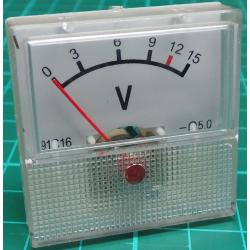 Panel Meter, Analogue, 0-15V, 40x40mm
