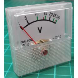 Panel Meter, Analogue, 0-30V, 40x40mm