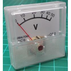 Panel Meter, Analogue, 0-50V, 40x40mm
