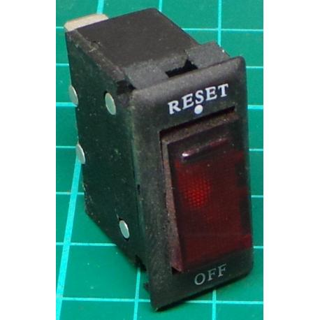 Switch DPST Rocker, with Circuit Breaker, 250VAC, 15A