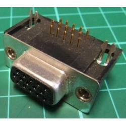 D Type, Socket, 15 Pin HD, PCB Right Angled