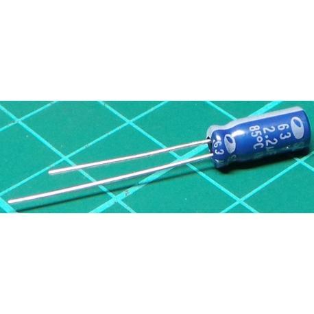 Capacitor, 2.2uF, 63V, Radial, Electrolitic