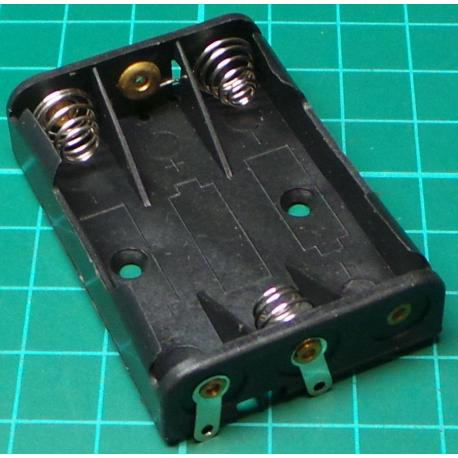 Battery Holder, 3 x AAA, Solder Tags
