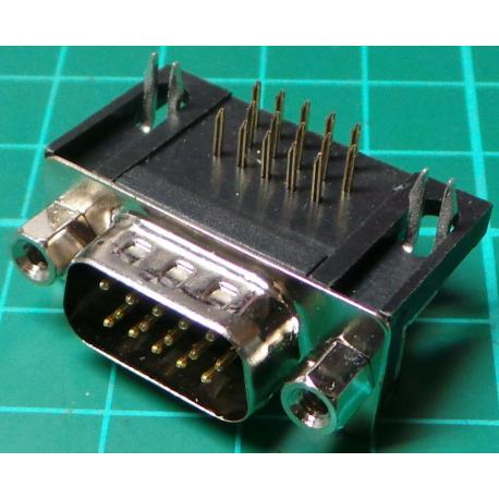 D Type, Plug, 15 Pin HD, PCB Right Angled