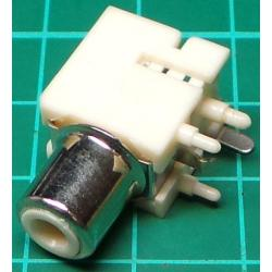 RCA socket, PCB mount, White