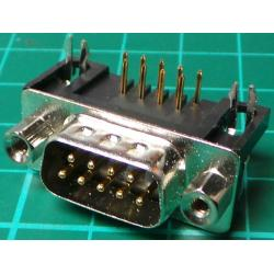 D Type, Plug, 9 Pin, PCB Right Angled