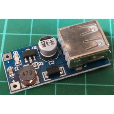 DC to DC Step Up Converter, 0.5-5V In, 5V Out, 0.5A, USB connector Output