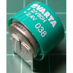 Battery, 2.4V 80mAh Ni-MH, Varta