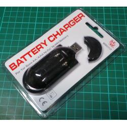 Battery Charger, 2xAA, USB, 200mA charging current