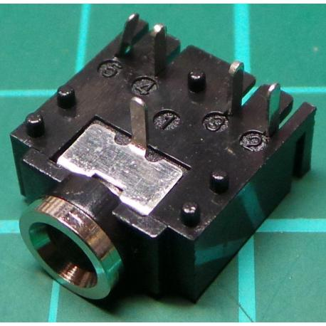 3.5mm Stereo PCB jack socket, with 2 switches