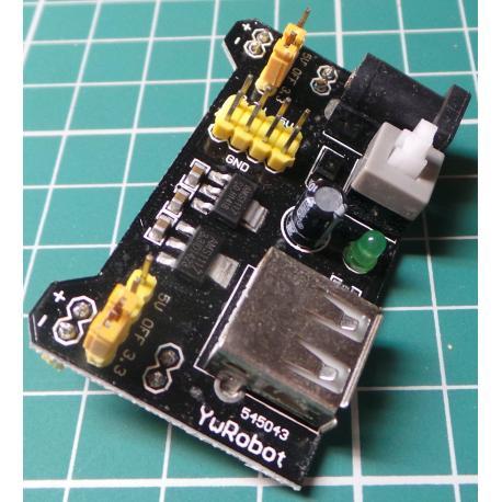 PSU Board for Breadboard, I/P USB or DC 6.5-12V, O/P 5V and or 3.3V