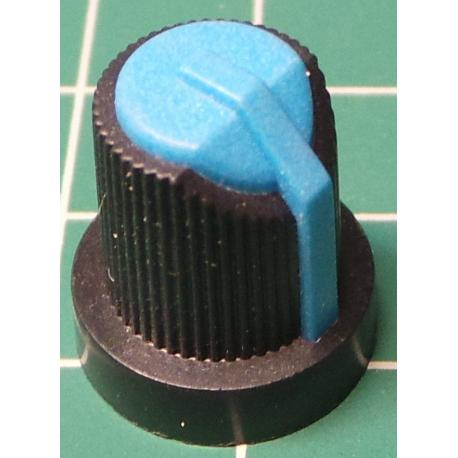 Knob, for 6mm knurled shaft, Blue, Style 5