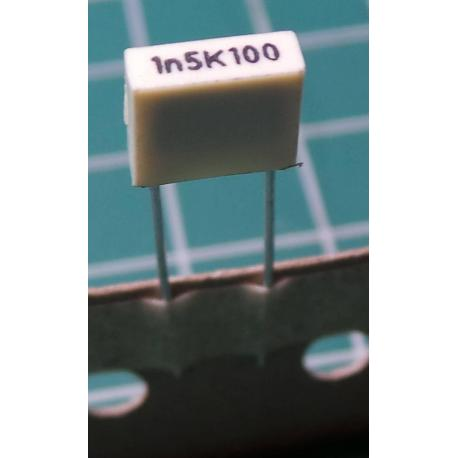 Capacitor, 1.5nF, 100V, Polyester Film, 5mm pitch