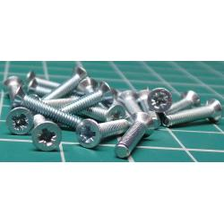 Screw, M2.5x12, Countersunk Head, Pozi