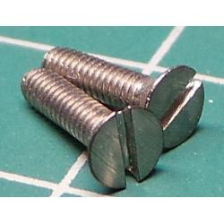 Screw, M2x8, Countersunk Head, Sloted, Stainless Steel