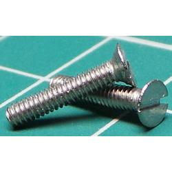 Screw, M2x10, Countersunk Head, Slotted, Stainless Steel